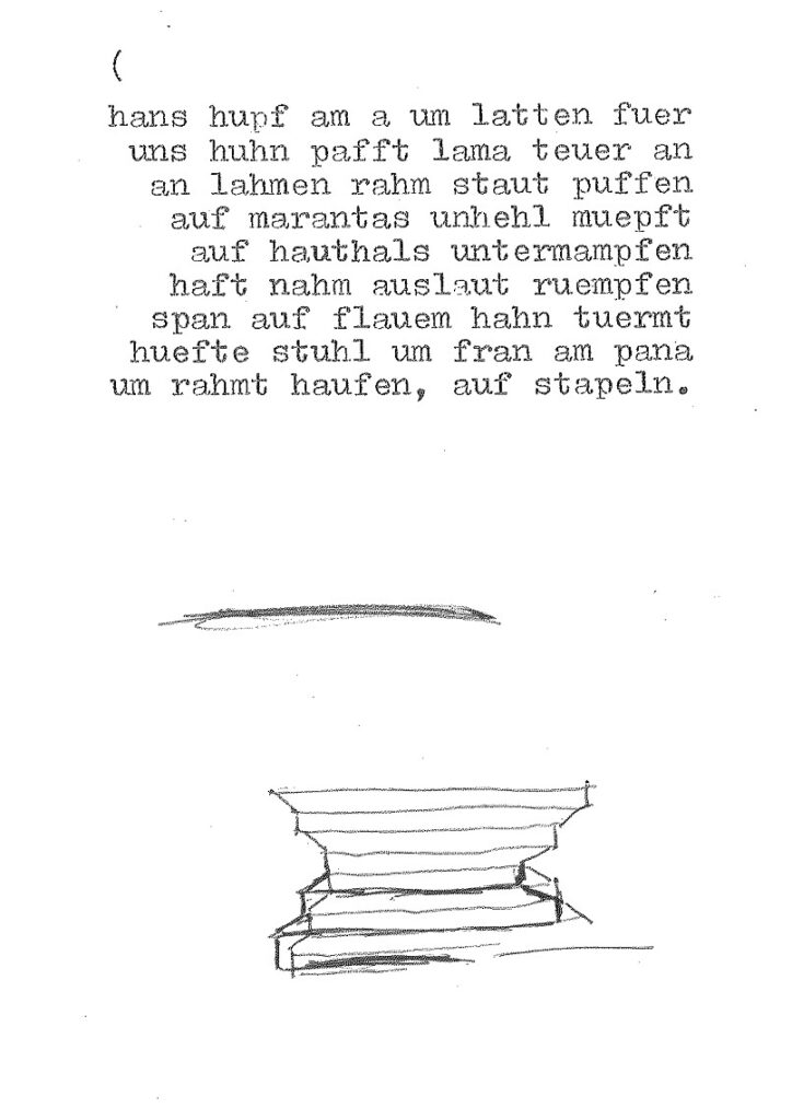 hans hupf mit PODEST, Skizze zu ana 365 gramm, 1991